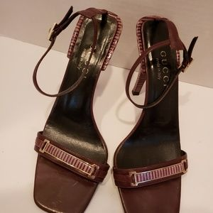 Gucci brown strip heel sandals sz 6 1/2 B